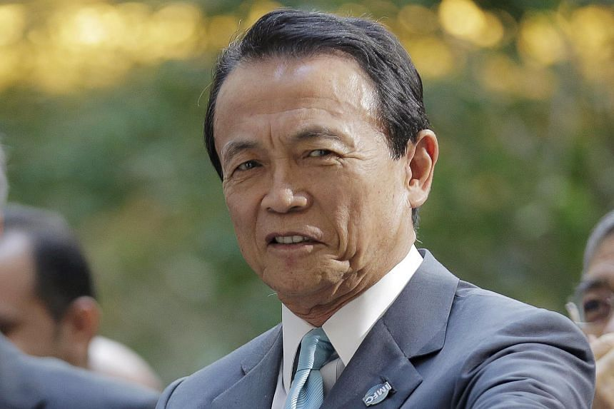 Japanese Finance Minister Taro Aso at the 2016 World Bank-IMF Spring Meeting in Washington, on April 16, 2016.