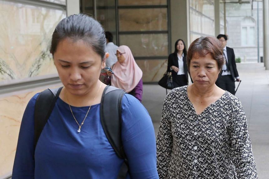 Ms Jumai Kho (left) and Madam Lenduk Baling, the sister and mother of convicted murderer Jabing Kho respectively, leaving the Supreme Court on April 5, 2016.