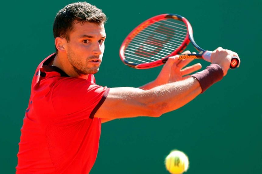 Grigor Dimitrov plays at the Monte Carlo Masters in Monaco, on April 12, 2016.