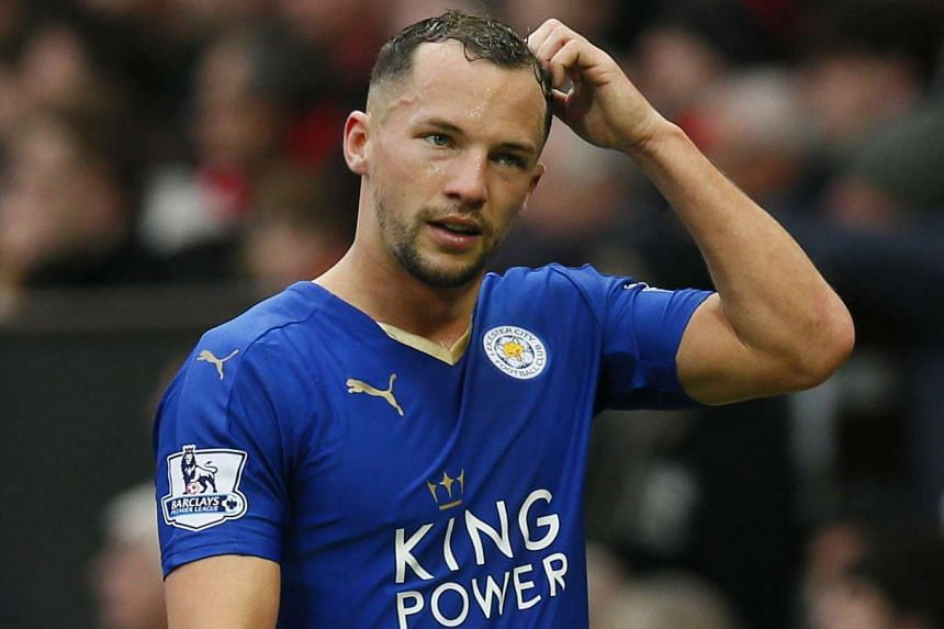 Leicester City's Danny Drinkwater looks dejected after being sent off at a match against Manchester United on May 1, 2016.