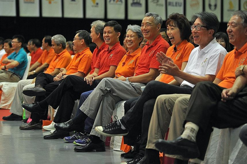 At the May Day Rally yesterday were (from left) Singapore National Employers Federation president Robert Yap, labour chief Chan Chun Sing, Mrs Lee, Prime Minister Lee Hsien Loong, NTUC president Mary Liew, Manpower Minister Lim Swee Say and Deputy Pr