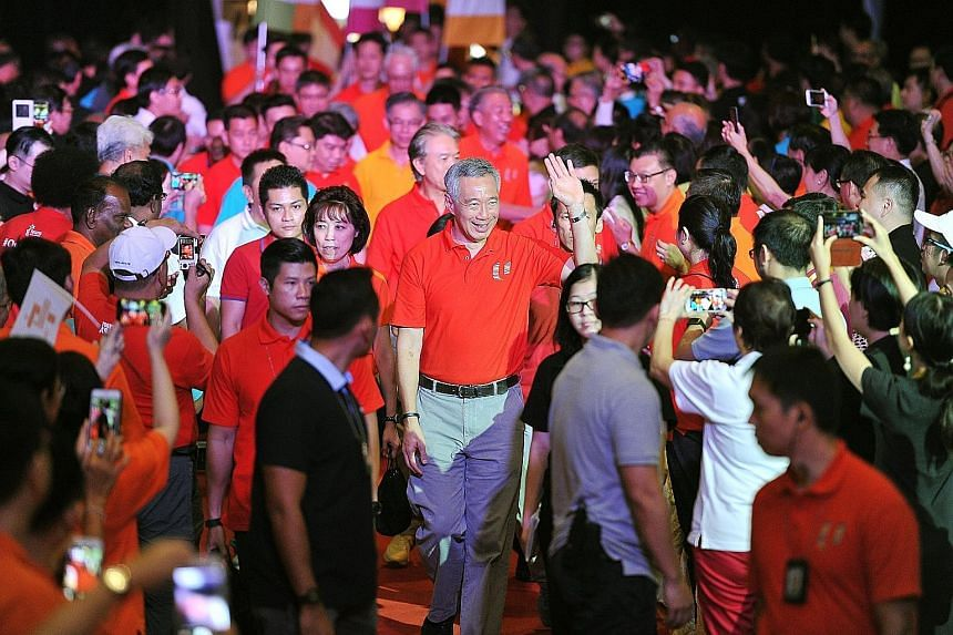 PM Lee arriving for the May Day Rally at Downtown East. He said the problem is not that there are not enough jobs, but workers' skills and expectations do not match market needs.