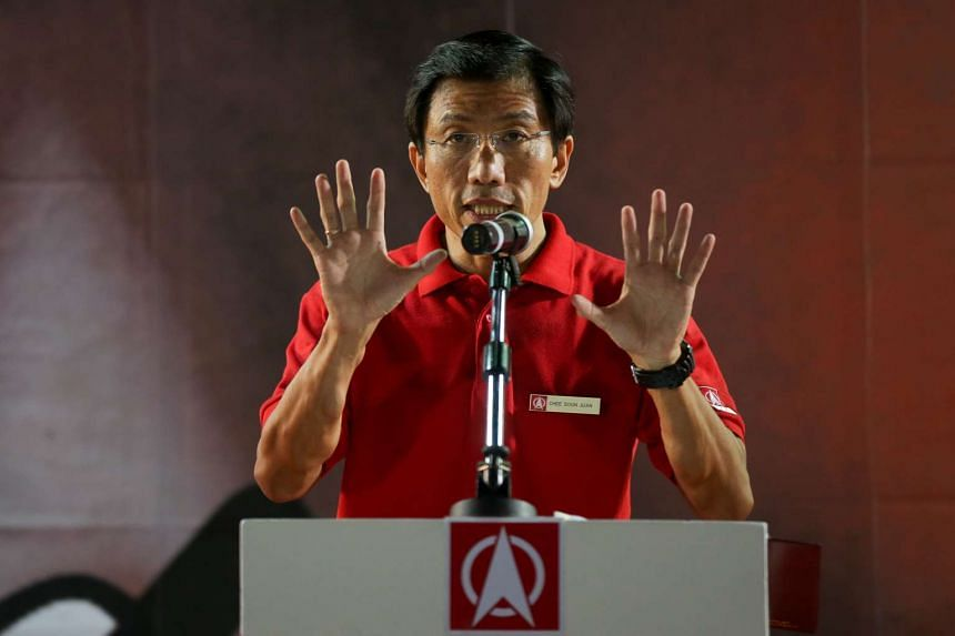 SDP candidate Chee Soon Juan speaks at his second rally for the Bukit Batok by-election at Bukit Gombak stadium on May 1, 2016.