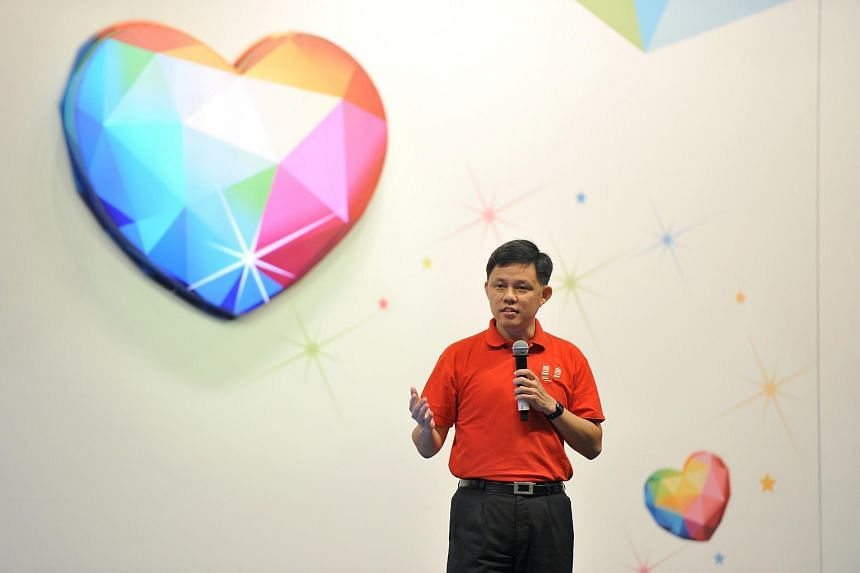 Minister Chan Chun Sing, Secretary-General of the National Trades Union Congress (NTUC), speaking during the May Day Rally 2016 at Downtown East, on May 1, 2016.