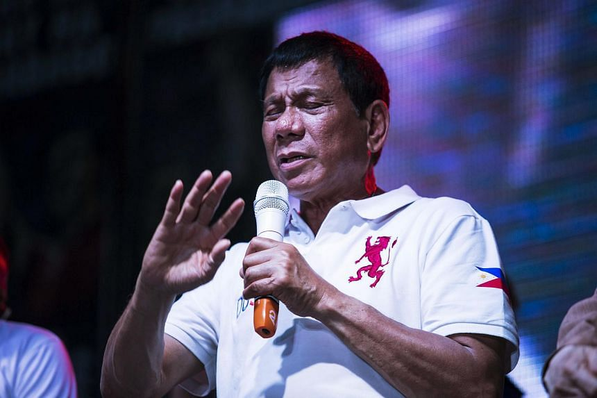 Philippine presidential candidate Rodrigo Duterte speaks during a campaign rally in Manila, the Philippines, on May 1, 2016.