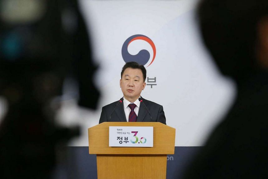 South Korea's Unification Ministry spokesman Jeong Joon Hee holds a press briefing in Seoul, South Korea, on April 25, 2016.