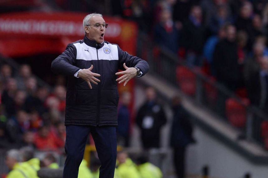 Leicester City's Italian manager Claudio Ranieri gestures during the  match at Old Trafford on Sunday.