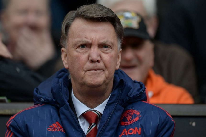 Manchester United's manager Louis van Gaal looks on at the match between his team and Leicester City.