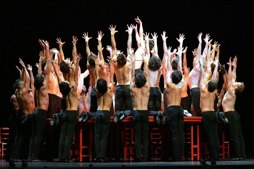 Dancers of the Bejart Ballet Lausanne performing Ravel's Bolero in Lille in 2004 to celebrate the 50th anniversary of the company of French choreographer Maurice Bejart.