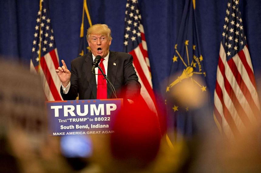 Donald Trump speaks during a campaign event in Indiana, on May 2, 2016.