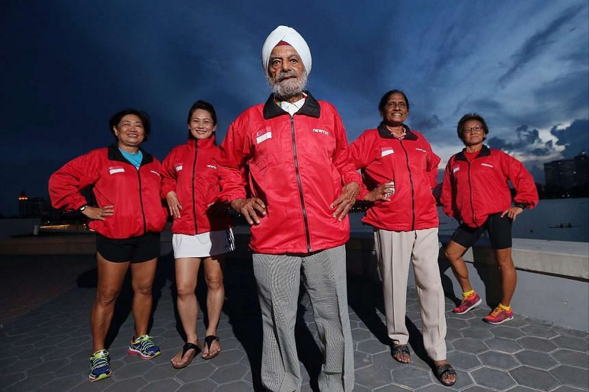 (From left) Margaret Oh, Christina Tan, Ajit Singh, Glory Barnabas and Linda Oh, who will be competing in the Asia Masters Athletic Championships 2016.