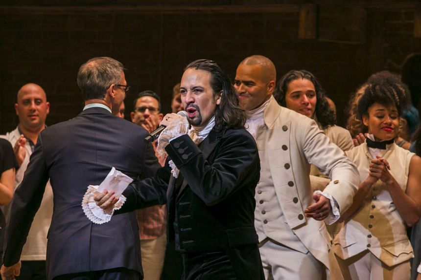 Lim-Manuel Miranda addressing the audience after the opening night of Hamilton on Broadway in New York, on Aug 6, 2015.