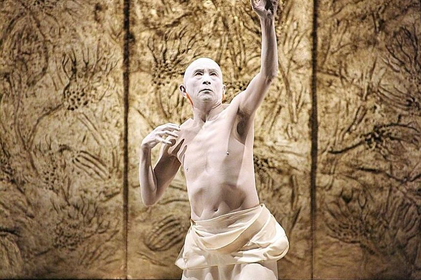 Sankai Juku dancers have shaved heads and are dusted in white to erase superficial differences and bring out a deeper essence.
