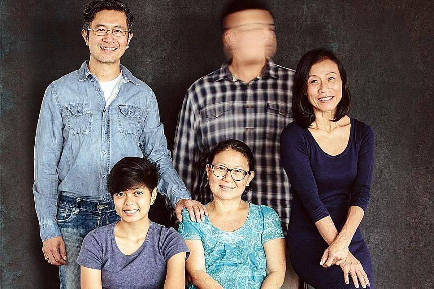 The cast of Falling (standing, from far left) Adrian Pang, Andrew Marko (seated, from far left) Fiona Lim, Neo Swee Lin and Tan Kheng Hua.