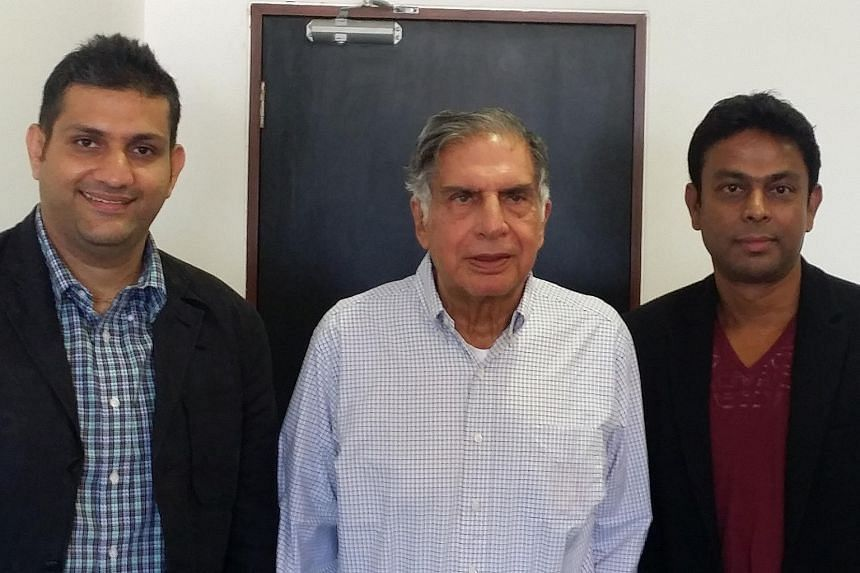 Jungle Ventures' co-founders Amit Anand (left) and Anurag Srivastava (right) with Indian business mogul Ratan Tata.
