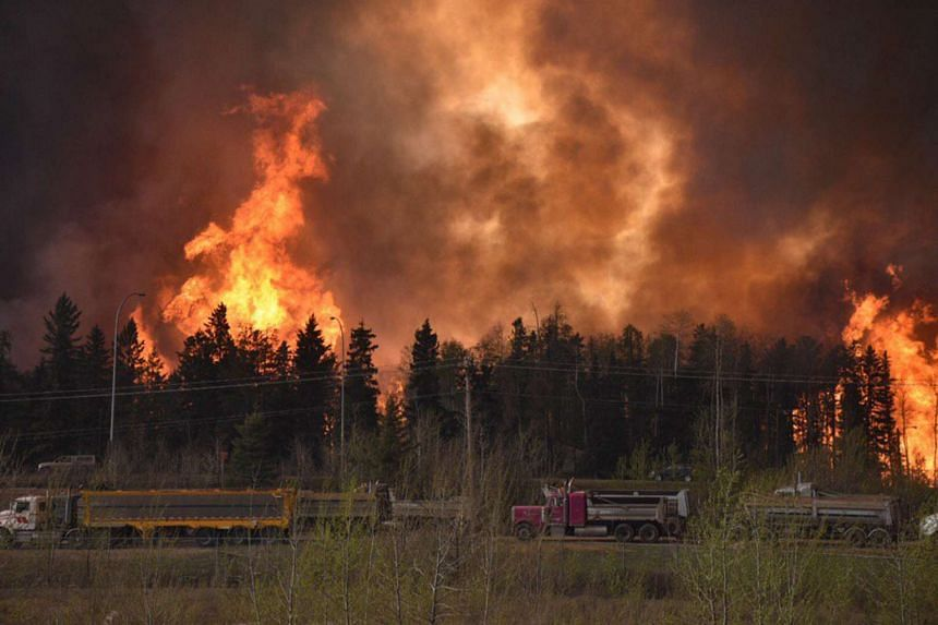 A wildfire along highway 63 in Fort McMurray on May 3, 2016.