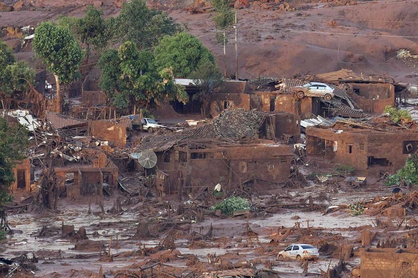 The village of Bento Rodrigues on Nov 6, 2015, which was destroyed when the dam near Mariana burst on Nov 5, 2015.