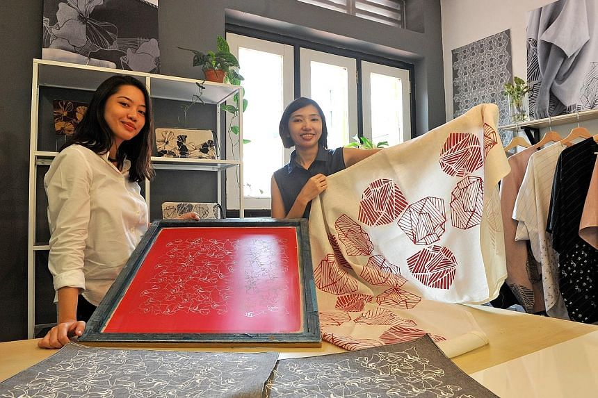 Sisters Aisah (left) and Hani Dalduri started their handprinted textile design studio Fictive Fingers as a hobby, selling their handmade crafts online. They still sell their products online but now the business is run primarily as a design studio whi