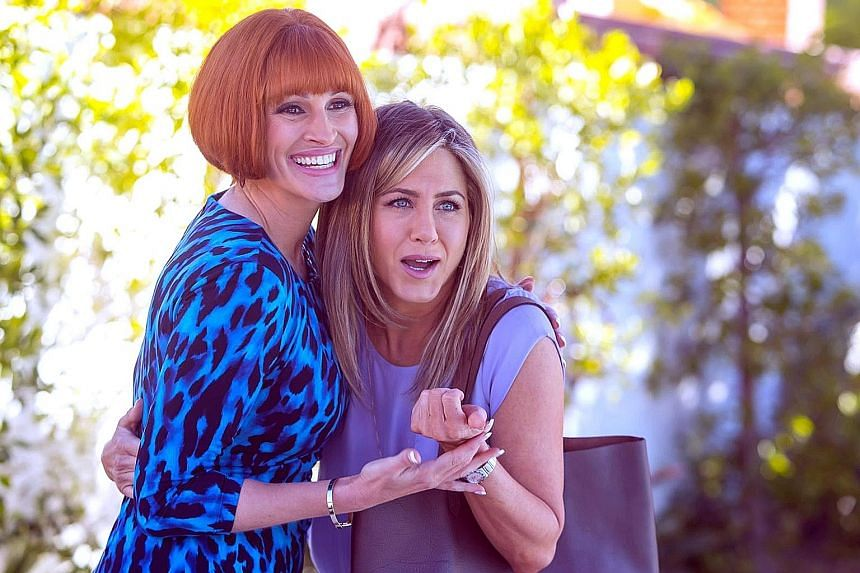 Julia Roberts (left) is an accomplished TV personality with a secret and Jennifer Aniston (right) plays a woman whose ex-husband has married a young bride.