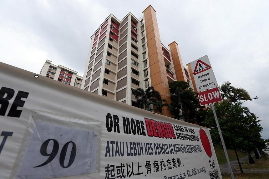 A banner showing the number of dengue cases in Serangoon North, an active dengue cluster area.