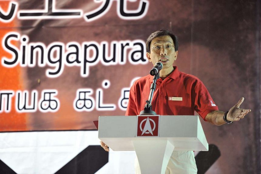 Dr Chee Soon Juan speaking at a rally at a field along Bukit Batok Industrial Park A on May 3.