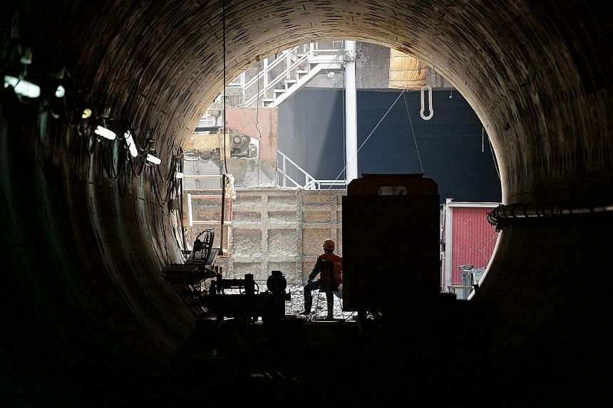 A tunnel under construction along the extension of the metro into Bangkok's historic Chinatown on March 11.