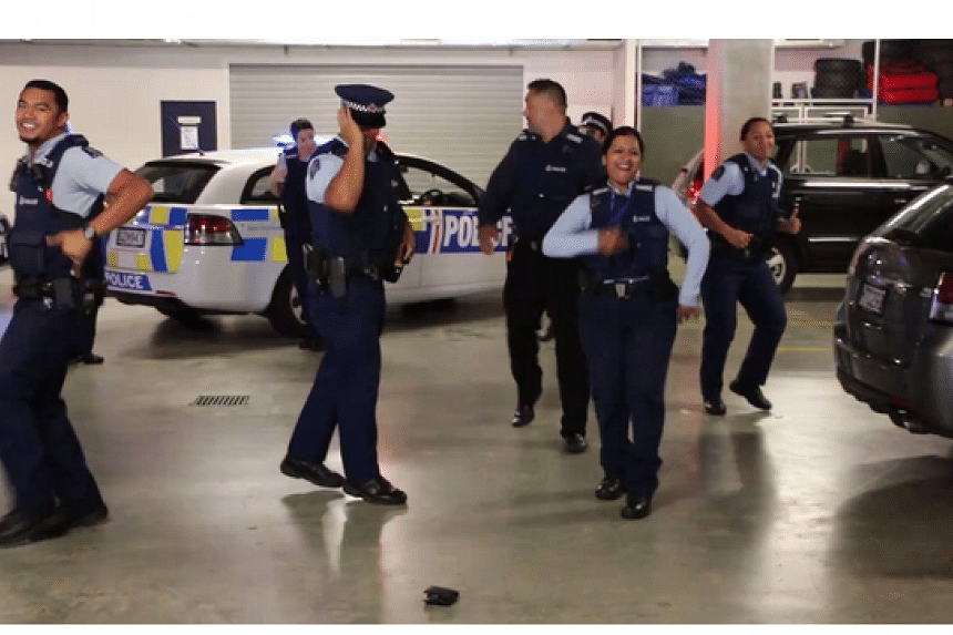 The New Zealand police officers showcased their moves to the tune of Ghost Town DJ's 1995 hit My Boo, complete with flashing lights on their patrol car.