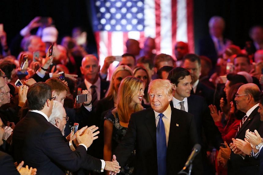 Donald Trump speaks to supporters and the media at Trump Tower in Manhattan following his victory in the Indiana primary.