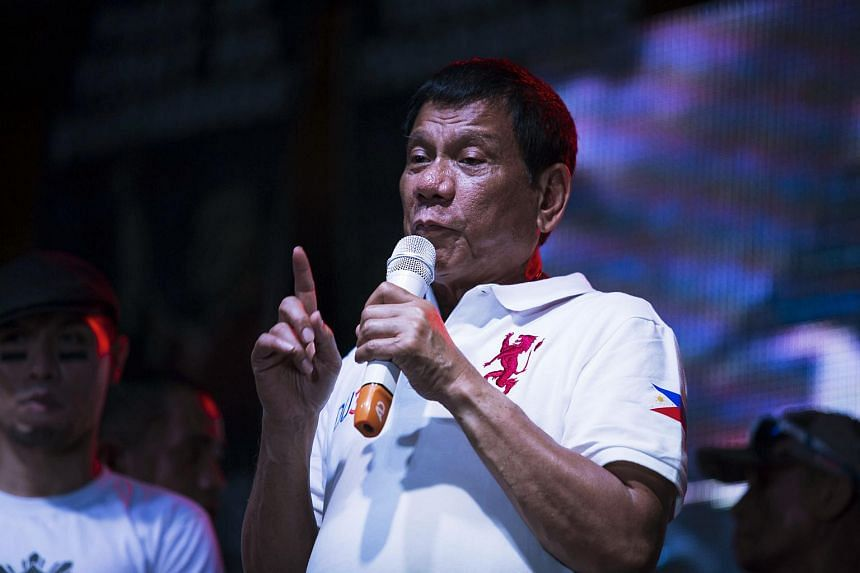 Davao mayor Rodrigo Duterte speaking during a rally in Manila on May 1.