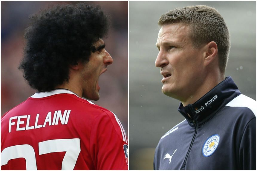 Manchester United's Marouane Fellaini and Leicester City's Robert Huth are facing three-match suspensions after being charged with violent conduct during their match on May 1, 2016.