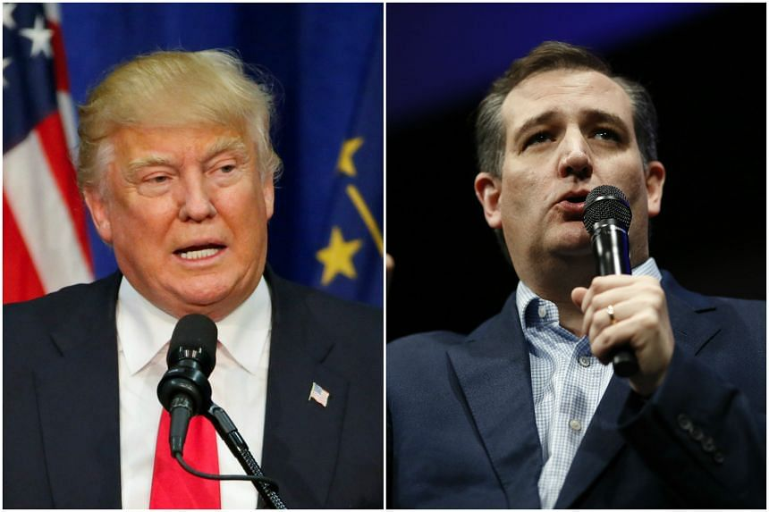 US Republican presidential candidates Donald Trump (left) and Ted Cruz have engaged in a war of words ahead of the Indiana primaries.