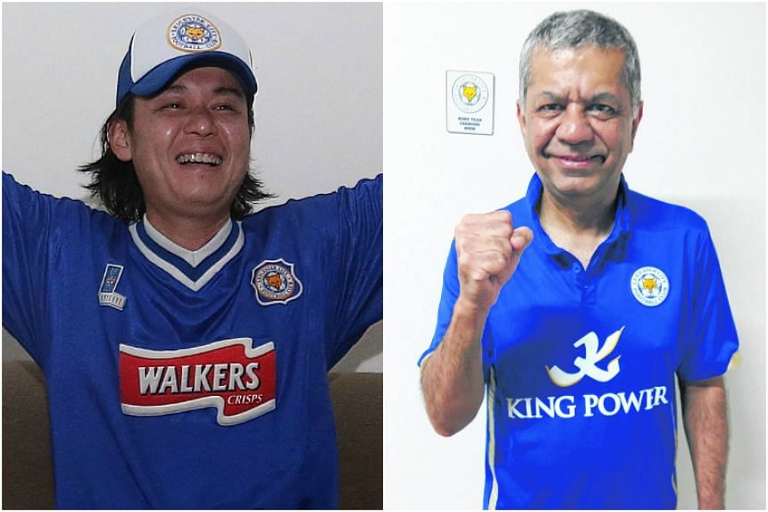 Leicester City fans in Singapore Perry Tan (left) and Jitendra Kachhela have been rewarded after Leicester defied the odds to win the Premier League for the first time.