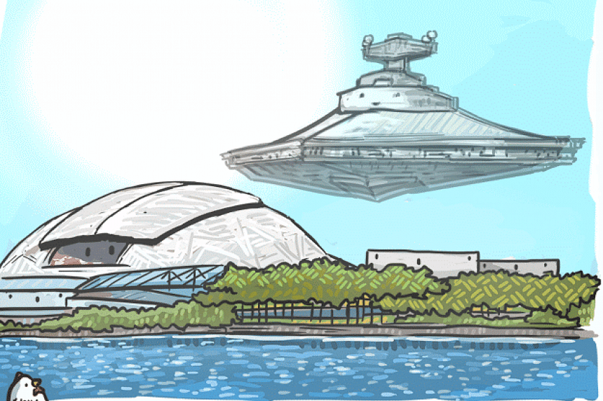 A Star Destroyer flies over the Sports Hub, in this sketch by local illustrator Xin Li.