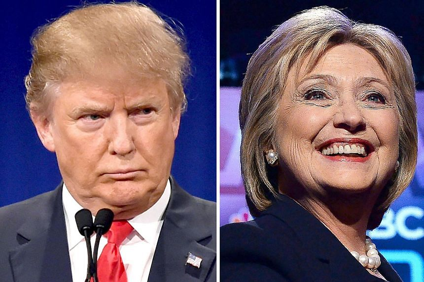 US Republican presidential hopeful Donald Trump (left) on Jan 14, 2016, and his Democratic rival Hillary Clinton on Feb 4, 2016.