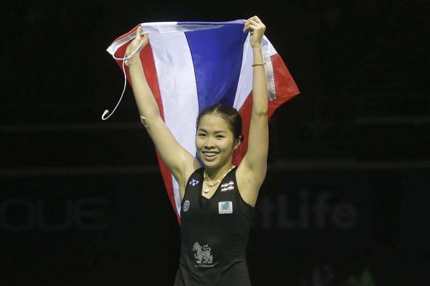 Ratchanok Intanon celebrates after beating China's Sun Yu in the women's finals of the OUE Singapore Open, on April 17, 2016.