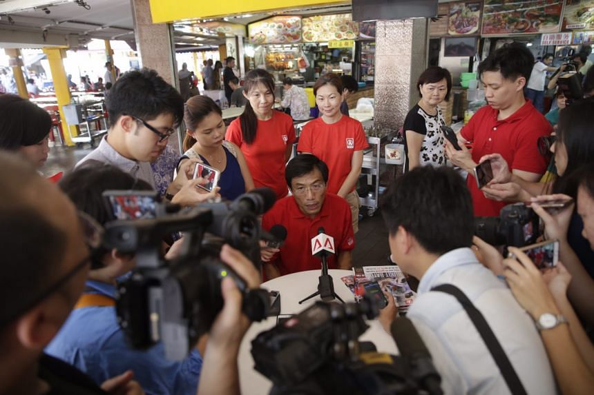 SDP chief and candidate for Bukit Batok SMC Chee Soon Juan giving a doorstop interview after his walkabout on May 5, 2016.