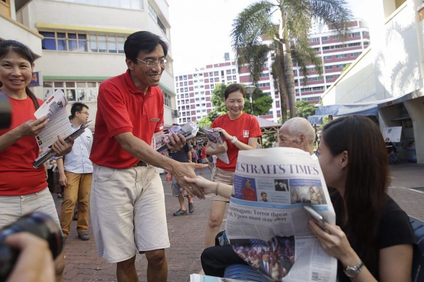 SDP chief and candidate for Bukit Batok SMC Chee Soon Juan greeting residents during his walkabout on May 5, 2016.
