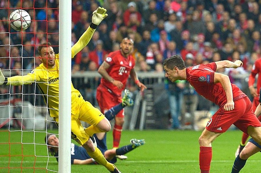 Bayern's David Alaba, like his team, is spent after they were knocked out by Atletico Madrid on away goals, exiting the competition at the semi-final stage for the third time in a row.