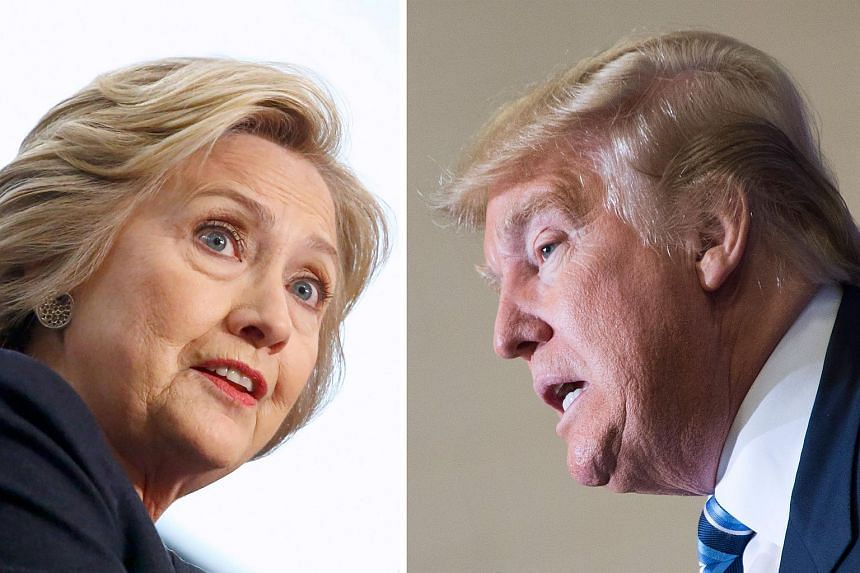 This file photo combination shows Democratic presidential candidate Hillary Clinton(Left) on April 4, 2016 and Republican challenger Donald Trump on February 16, 2016.