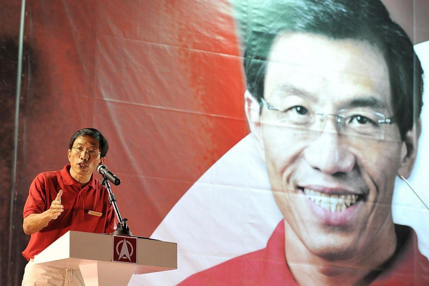 Dr Chee Soon Juan giving his speech at the Singapore Democratic Party rally at the field along Bukit Batok Industrial Park A on May 3, 2016.