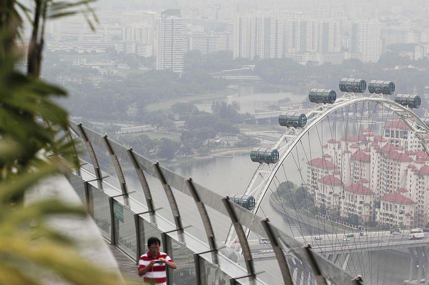The hazy view from the Marina Bay SkyPark on April 9, 2013.