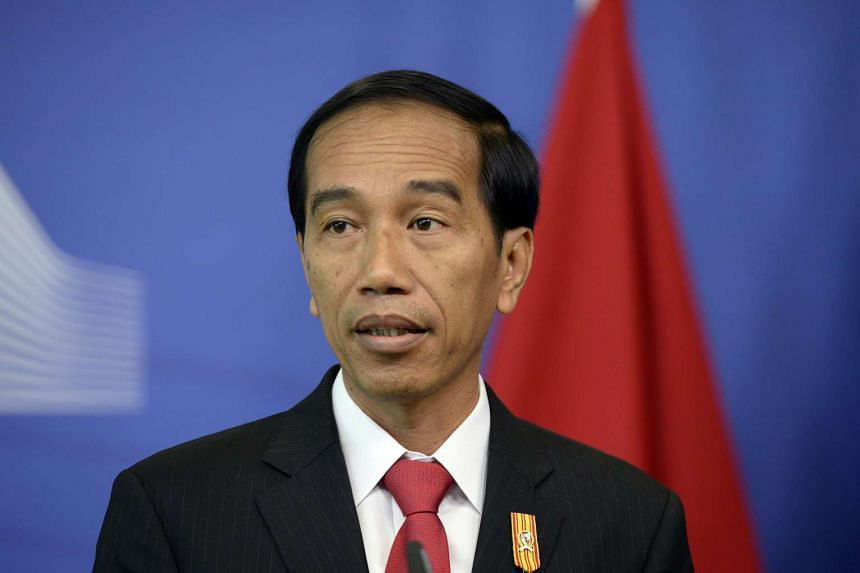Joko Widodo gives a press conference following his meeting with European Union officials at the European Parliament in Brussels.