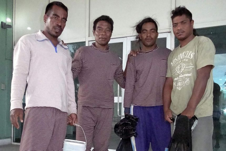 From left: Sailors Moamoa Kamwea, Tatika Ukenio, Bonibai Akau and Boiti Tetinauiko at Majuro hospital after being rescued and taken to the Marshall Islands, on May 4, 2016.
