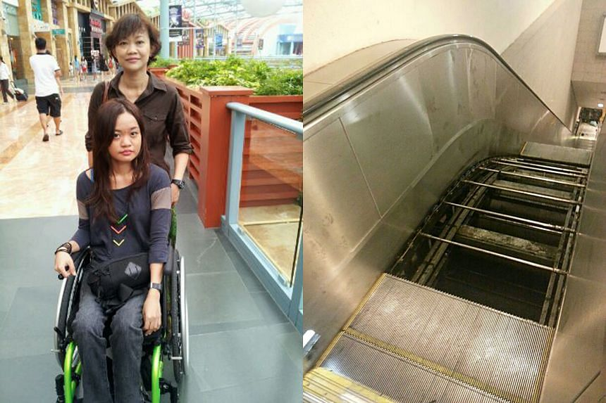 Ms Azlin, seen with her mother, Madam Azizah Mohd Lajis, fell into the shaft of an escalator under maintenance (right).
