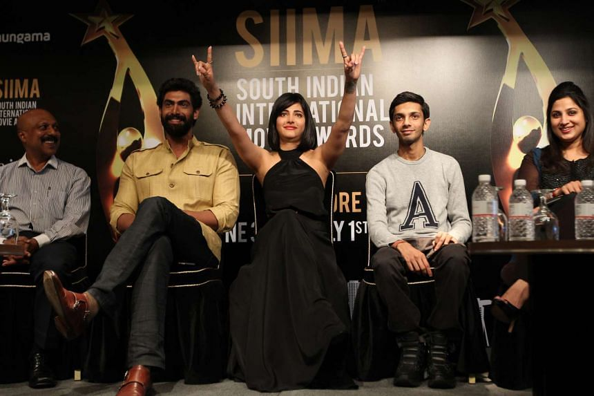 (From left to right) Actor Rana Dagubbati, actress Shruti Haasan and composer Anirudh Ravichander at the announcement of Singapore as the host venue for SIIMA 2016.