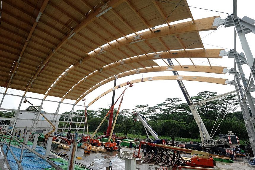 NTU's new sports hall uses glued laminated timber, or glulam, for its roof. It is lighter than steel, needs 60 times less energy to produce, and was assembled in less than a month.