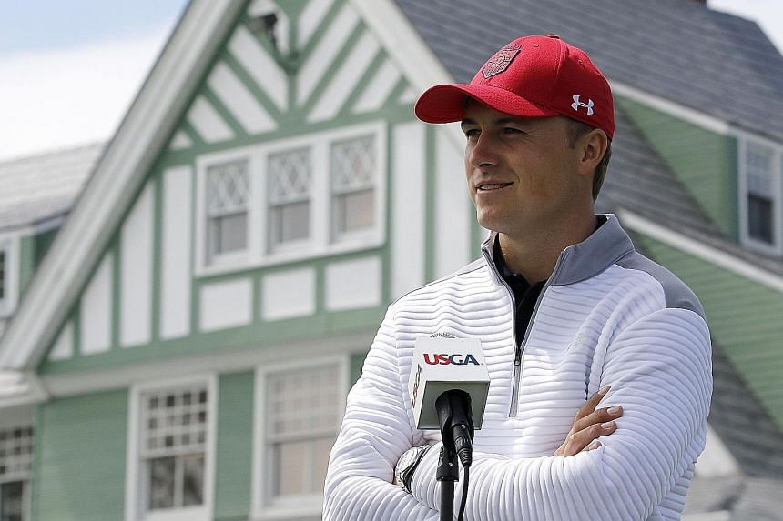 """Jordan Spieth at Oakmont Country Club on Wednesday, where he said he has learnt """"to laugh about"""" his Masters meltdown."""
