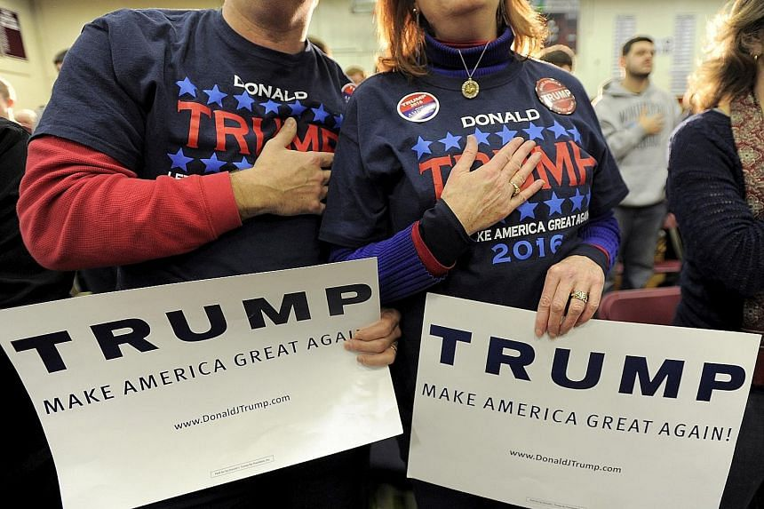 Trump supporters at a campaign rally in Concord, New Hampshire, in January.