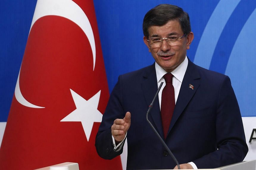 Turkish Prime Minister Ahmet Davutoglu gives a press conference after an executive board meeting of his Justice and Development Party in Ankara, on May 5, 2016.