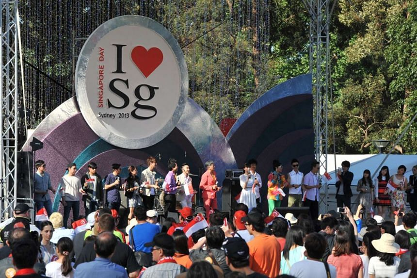 The crowd watching performers at the Singapore Day event held in Sydney, Australia, on Oct 12, 2013.